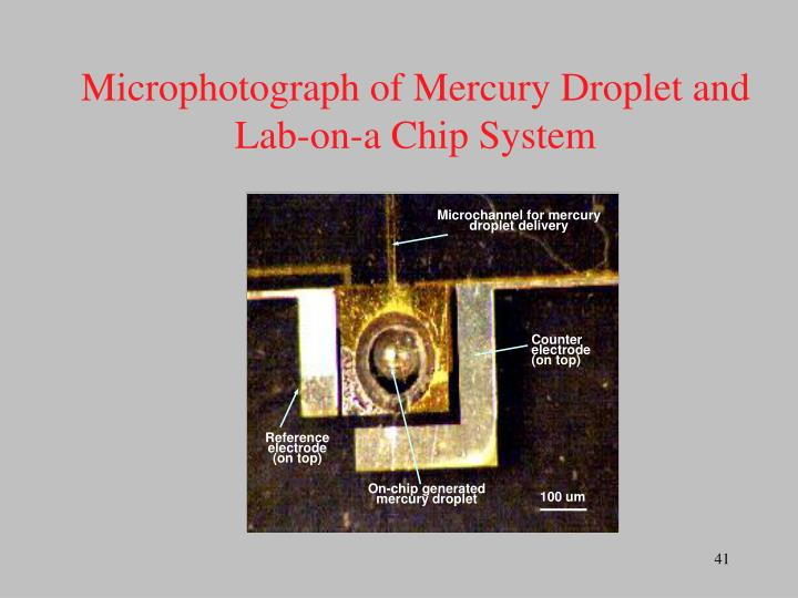 Microchannel for mercury droplet delivery