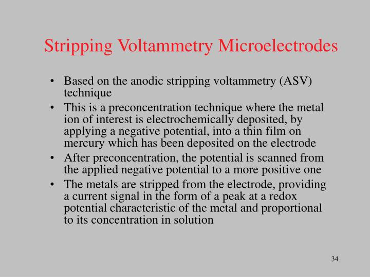 Stripping Voltammetry Microelectrodes