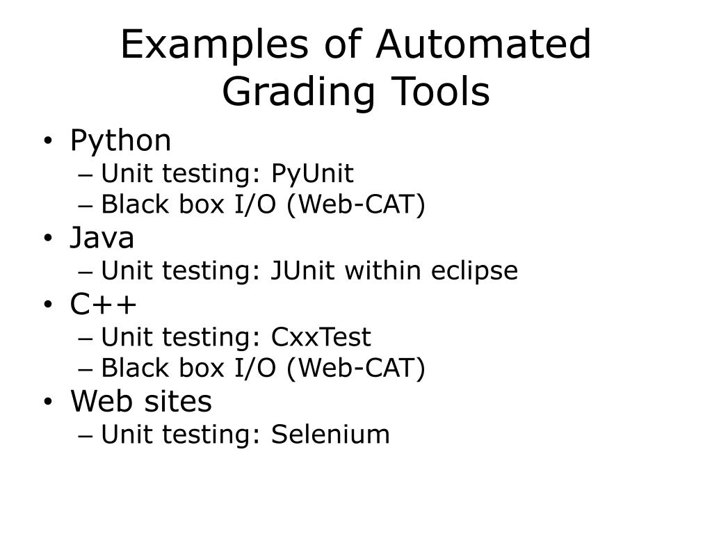 Examples of Automated Grading Tools