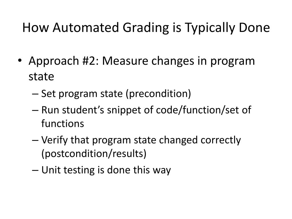 How Automated Grading is Typically Done