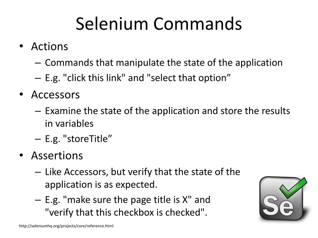 Selenium Commands