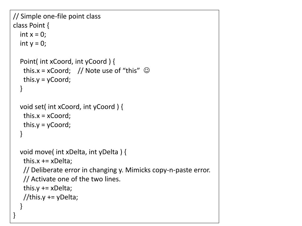 // Simple one-file point class
