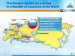 the group s assets are located in a number of countries of the world