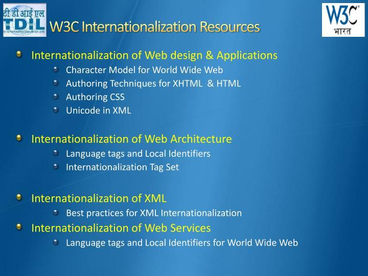 W3C Internationalization Resources