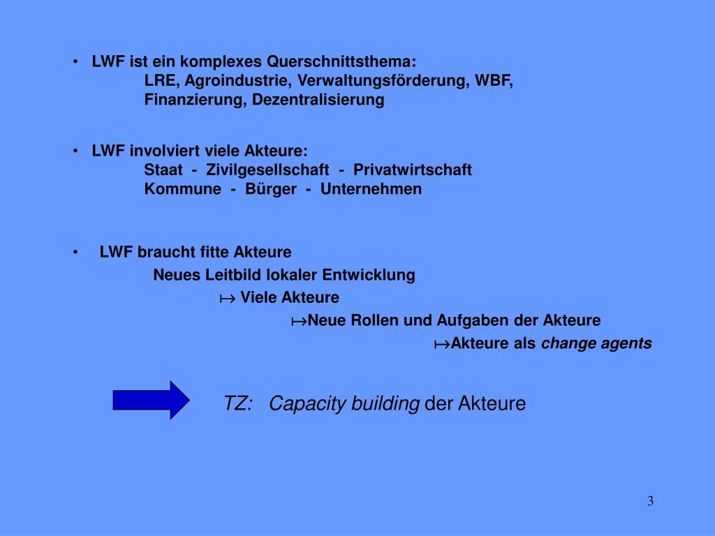 LWF ist ein komplexes Querschnittsthema: