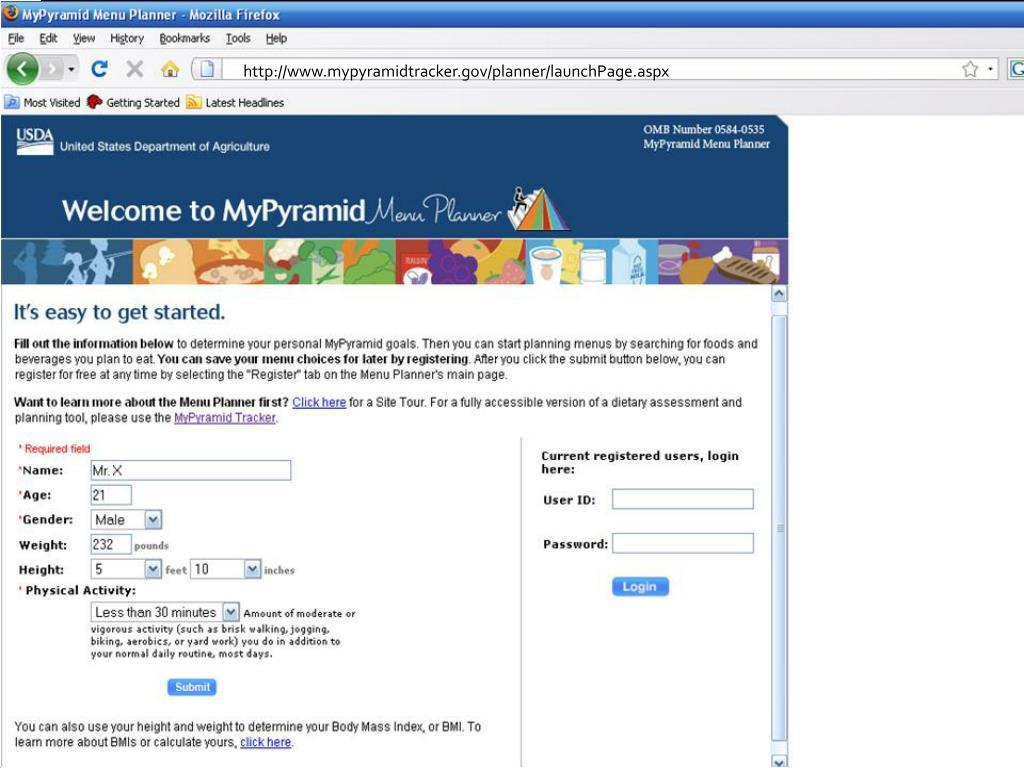 http://www.mypyramidtracker.gov/planner/launchPage.aspx