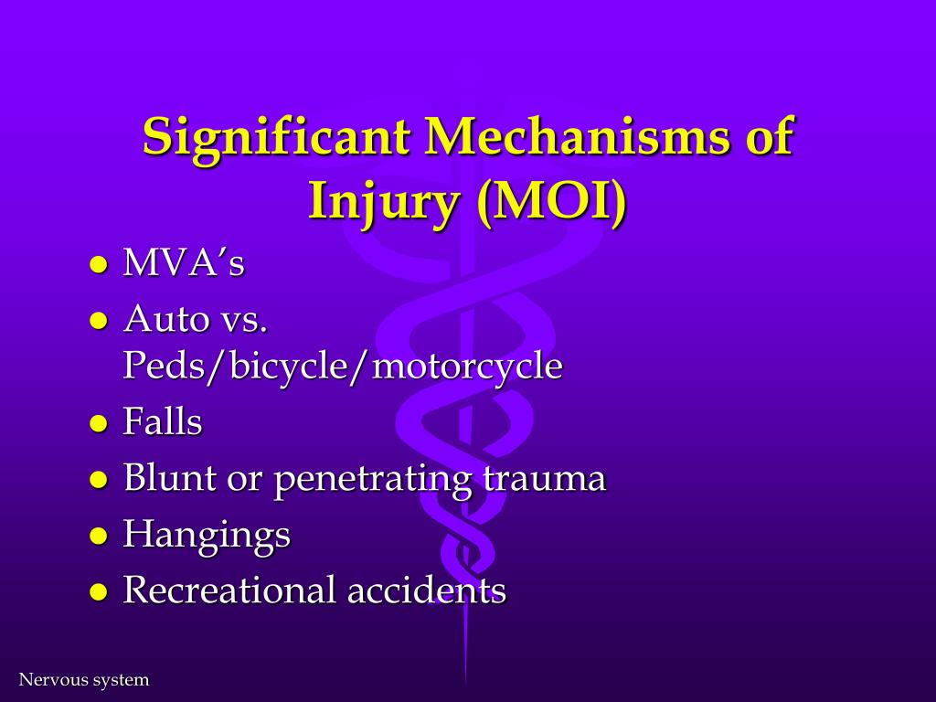 Significant Mechanisms of Injury (MOI)