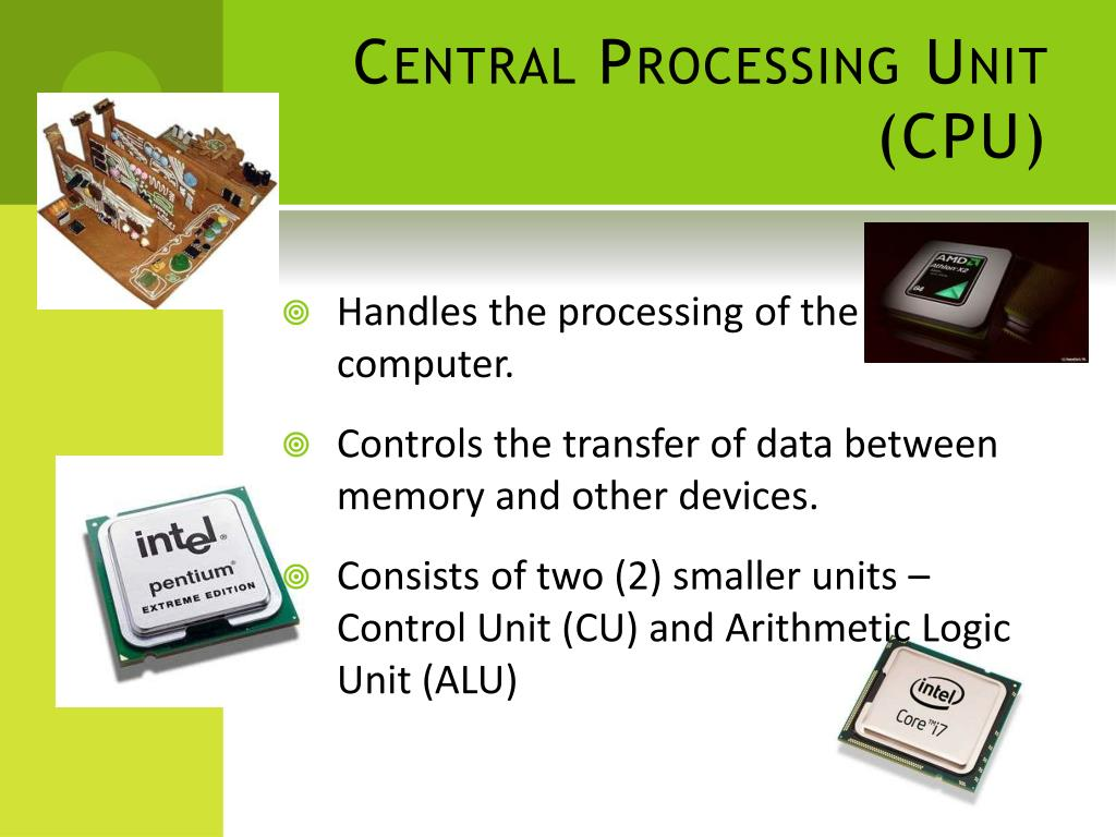 PPT - Functions of major hardware components of a computer ...