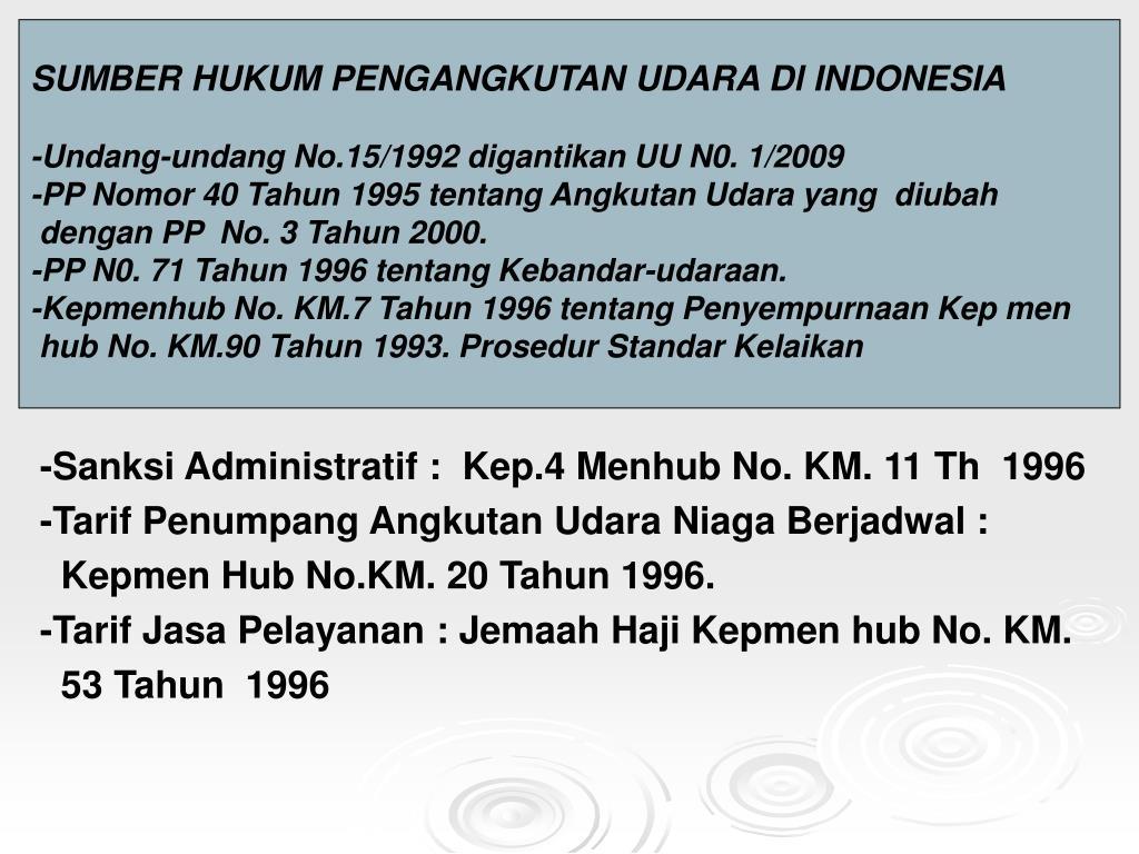 SUMBER HUKUM PENGANGKUTAN UDARA Dl INDONESIA