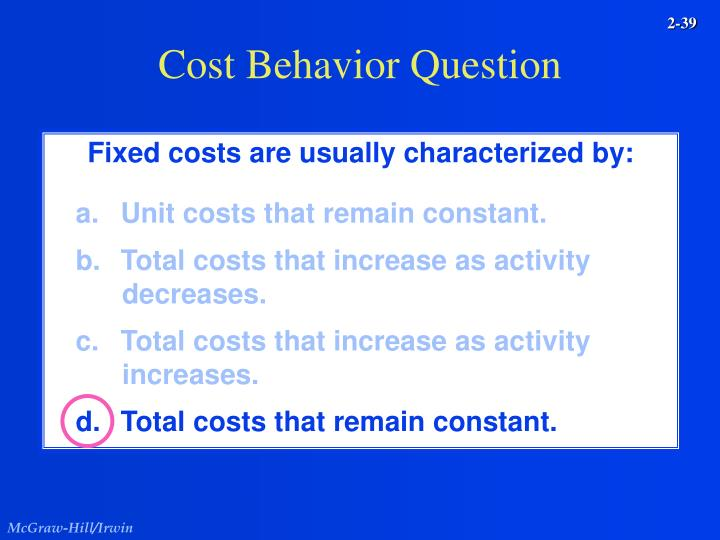 Cost Behavior Question
