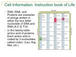 cell information instruction book of life