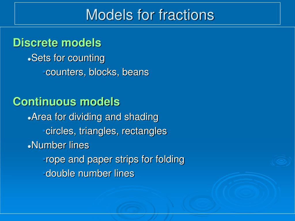 Models for fractions