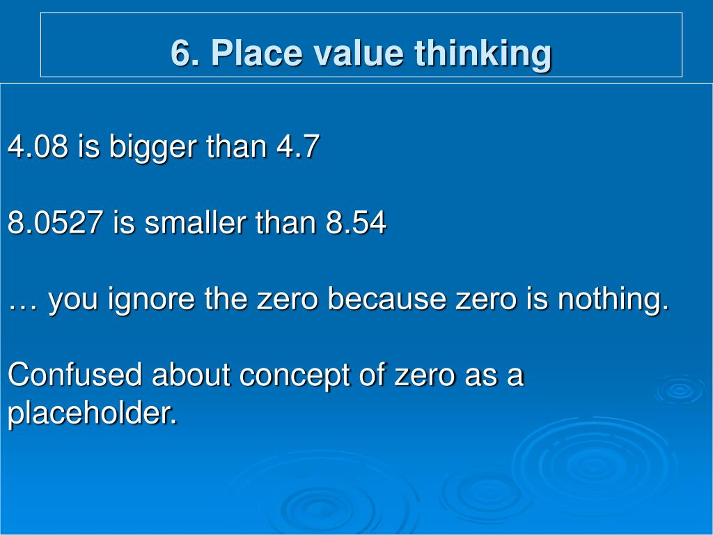 6. Place value thinking