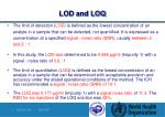 lod and loq