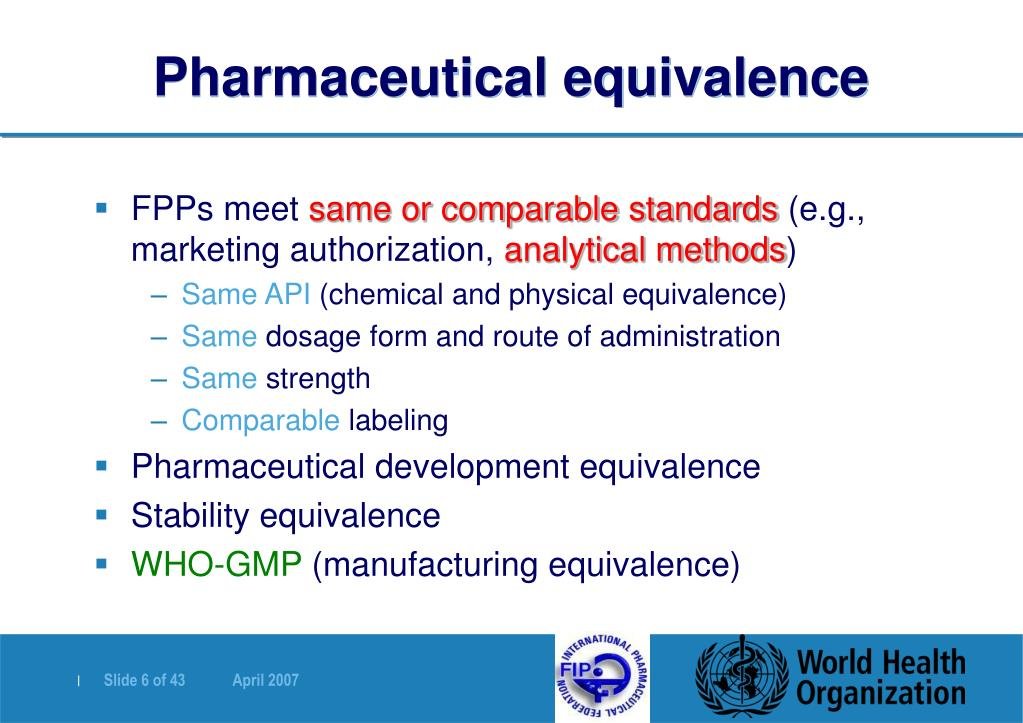 Pharmaceutical equivalence