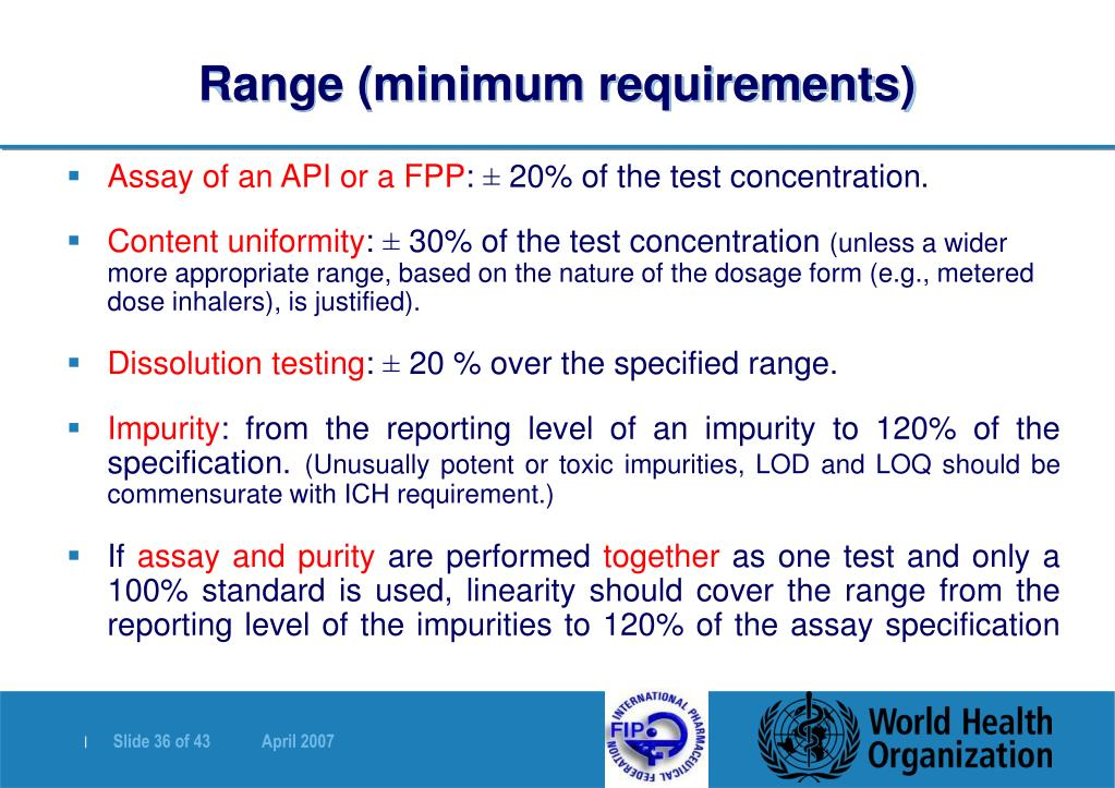 Range (minimum requirements)