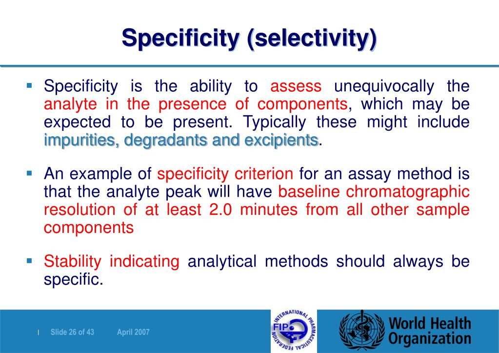 Specificity (selectivity)