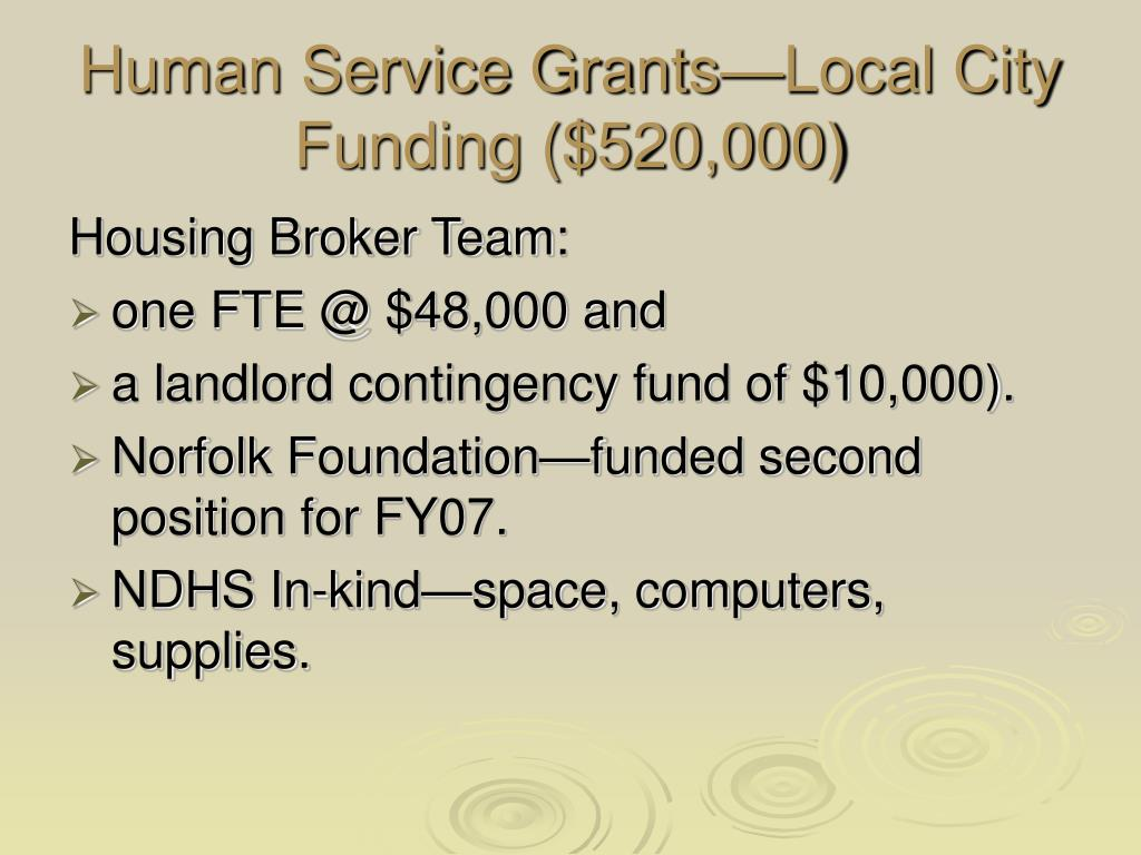 Human Service Grants—Local City Funding ($520,000)