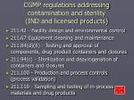 cgmp regulations addressing contamination and sterility ind and licensed products