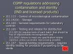 cgmp regulations addressing contamination and sterility ind and licensed products7