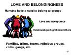 love and belongingness