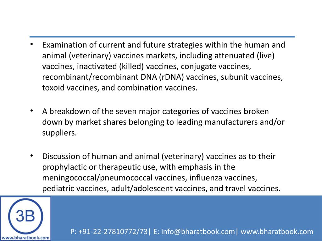 Examination of current and future strategies within the human and animal (veterinary) vaccines markets, including attenuated (live) vaccines, inactivated (killed) vaccines, conjugate vaccines, recombinant/recombinant DNA (