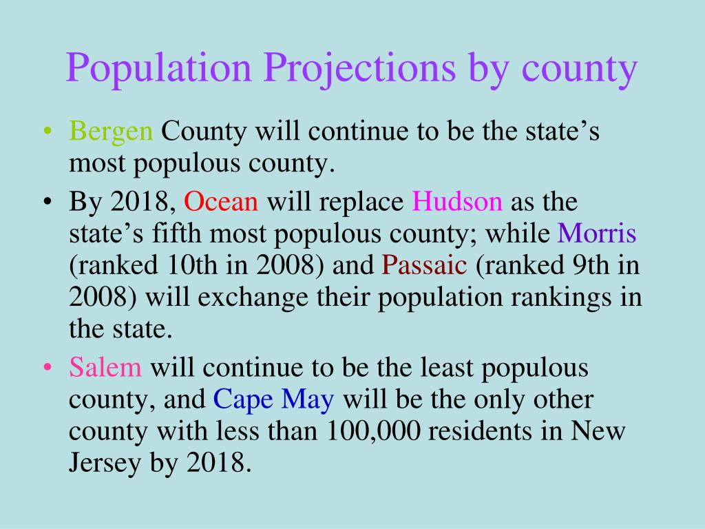 Population Projections by county