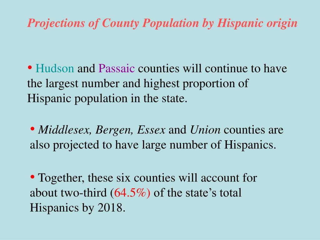 Projections of County Population by Hispanic origin