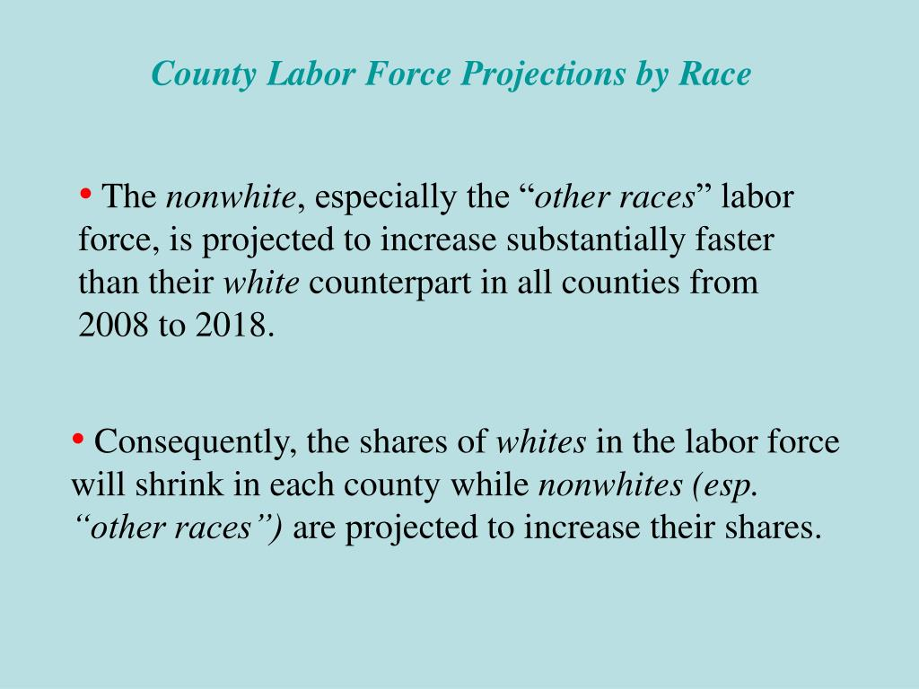 County Labor Force Projections by Race