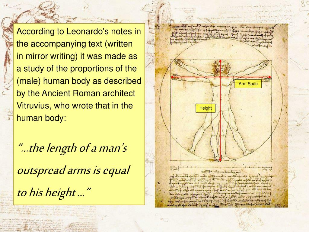 According to Leonardo's notes in the accompanying text (written in mirror writing) it was made as a study of the proportions of the (male) human body as described by the Ancient Roman architect Vitruvius, who wrote that in the human body: