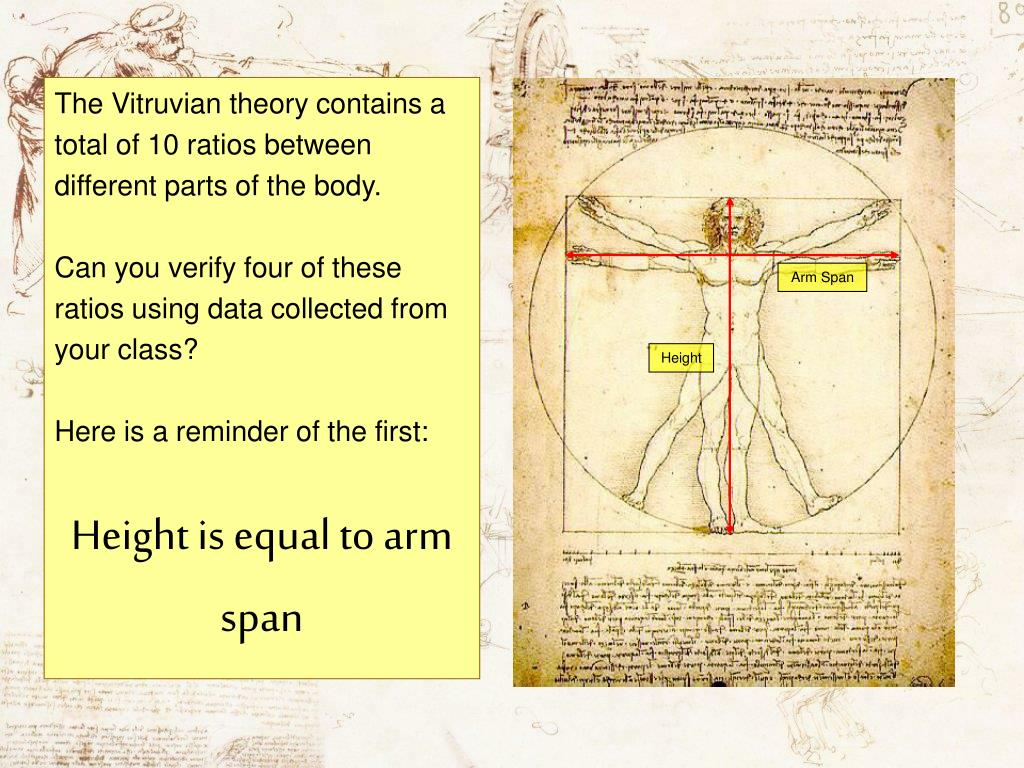 The Vitruvian theory contains a total of 10 ratios between different parts of the body.