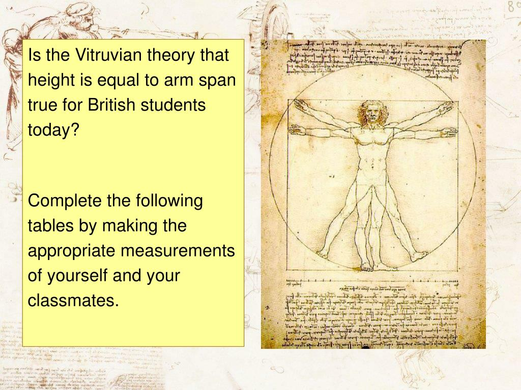 Is the Vitruvian theory that height is equal to arm span true for British students today?
