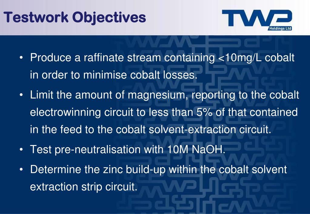 Testwork Objectives