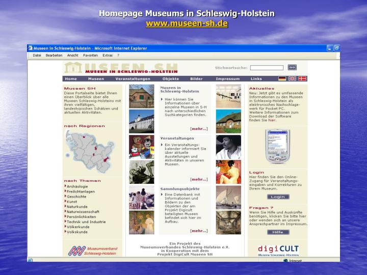 Homepage Museums in Schleswig-Holstein