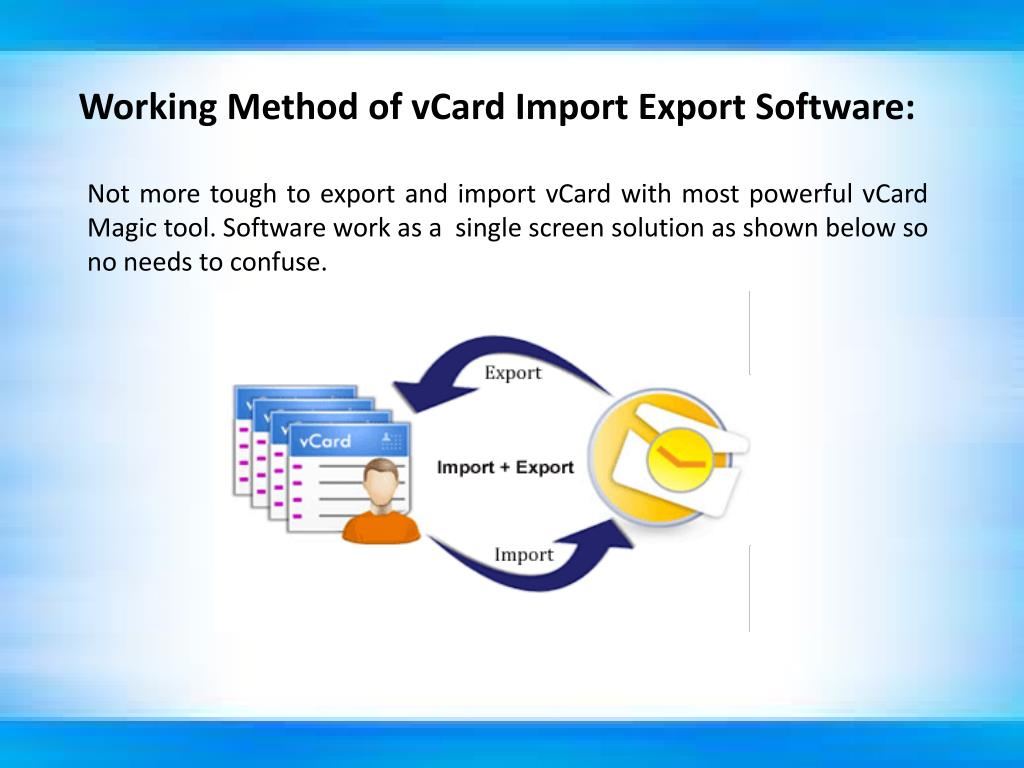Working Method of vCard Import Export Software: