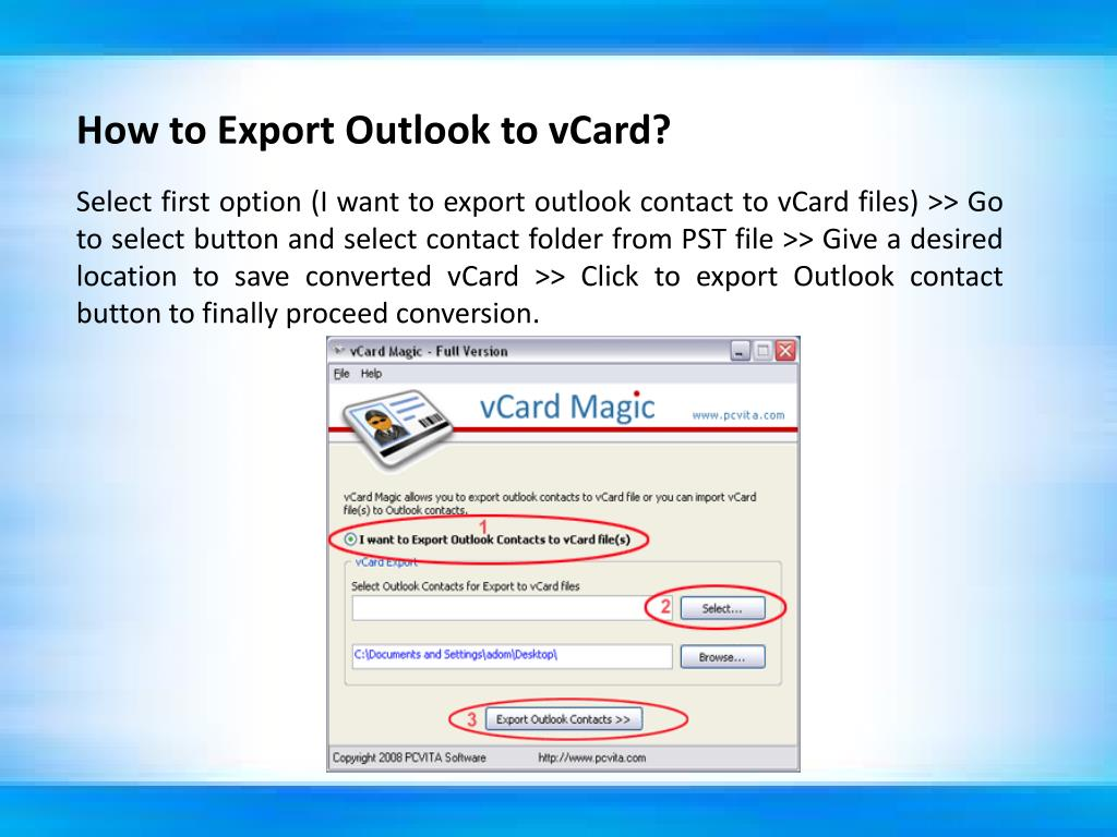 How to Export Outlook to vCard?