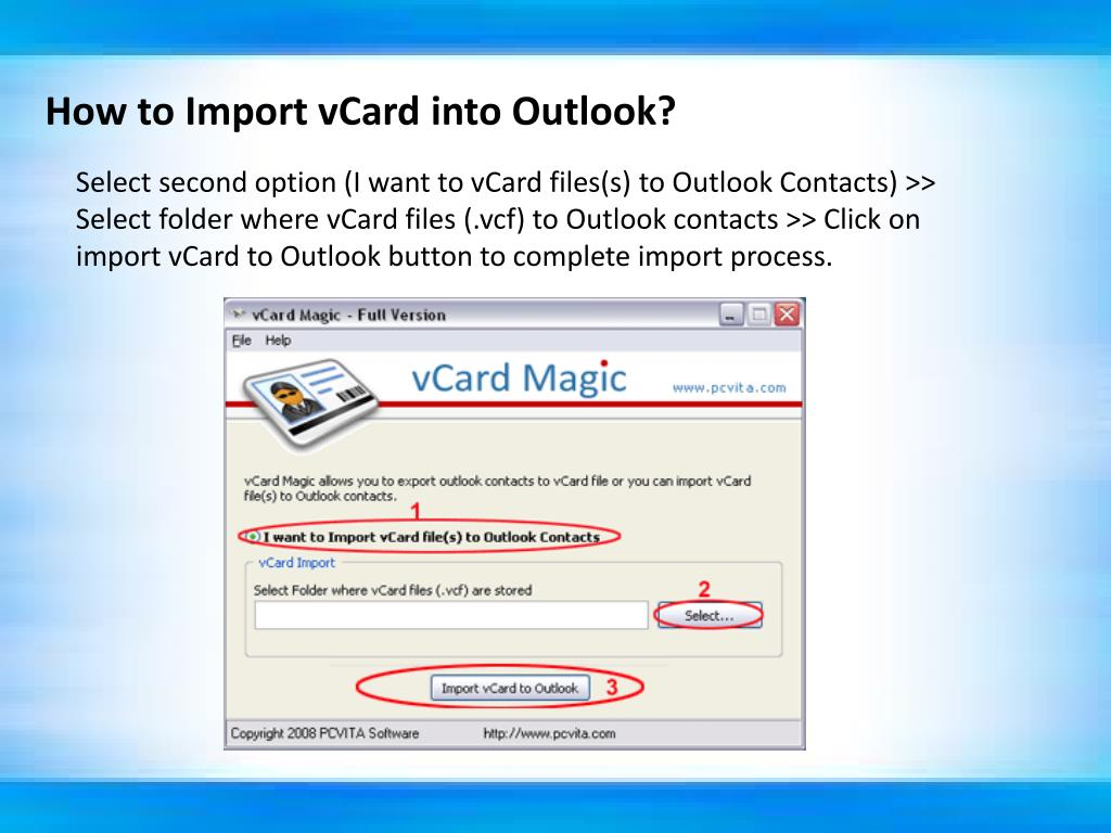 How to Import vCard into Outlook?