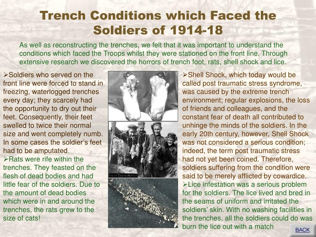 Trench Conditions which Faced the Soldiers of 1914-18
