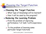 choosing the target function