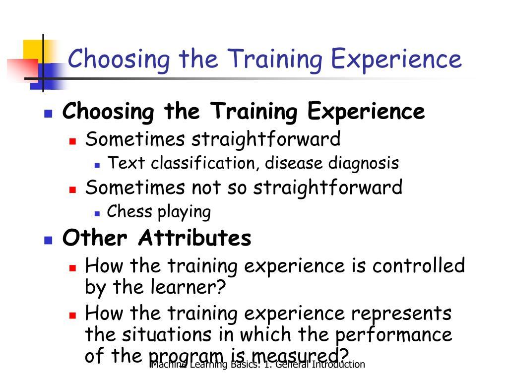 Choosing the Training Experience