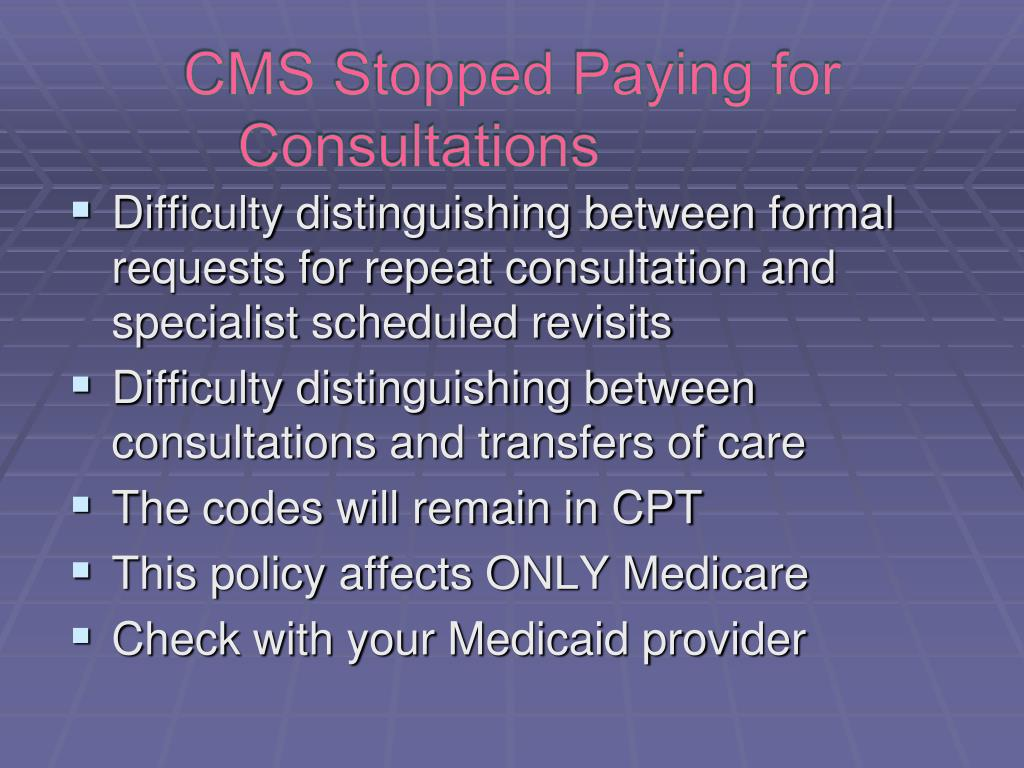 CMS Stopped Paying for Consultations