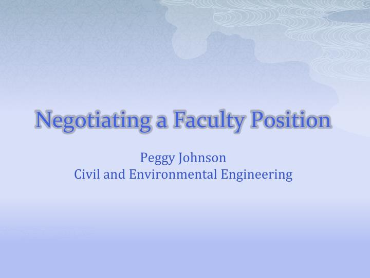 Negotiating a faculty position