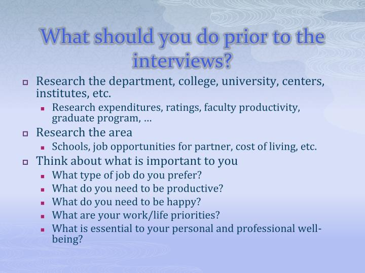 What should you do prior to the interviews l.jpg