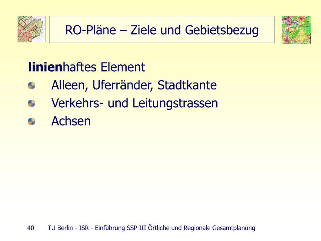 RO-Pläne – Ziele und Gebietsbezug