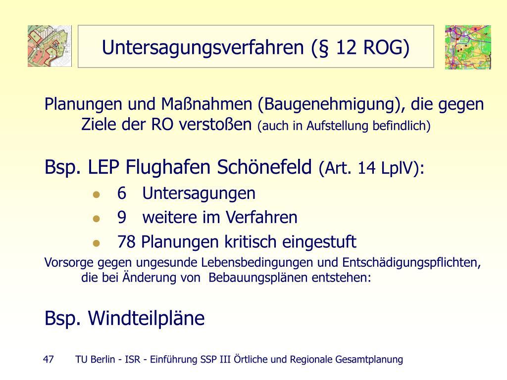 Untersagungsverfahren (§ 12 ROG)