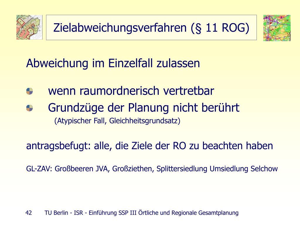 Zielabweichungsverfahren (§ 11 ROG)