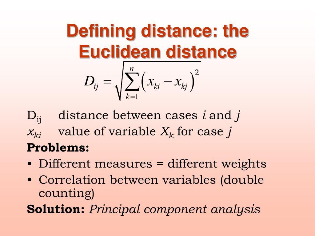 Defining distance: the Euclidean distance
