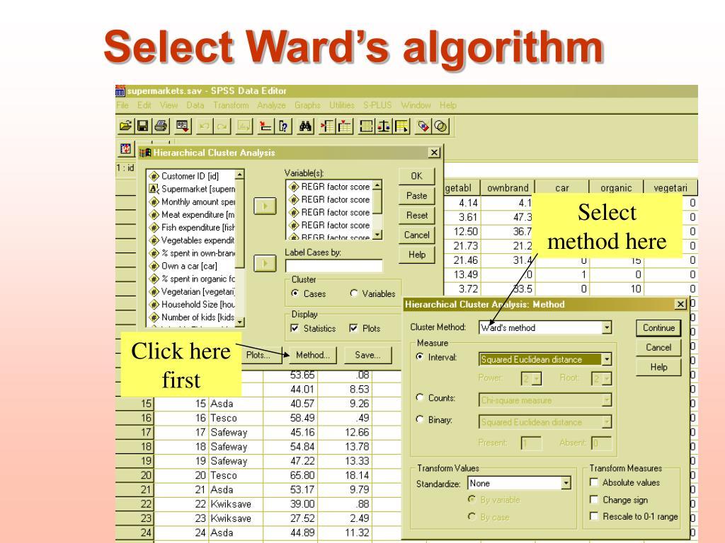 Select Ward's algorithm