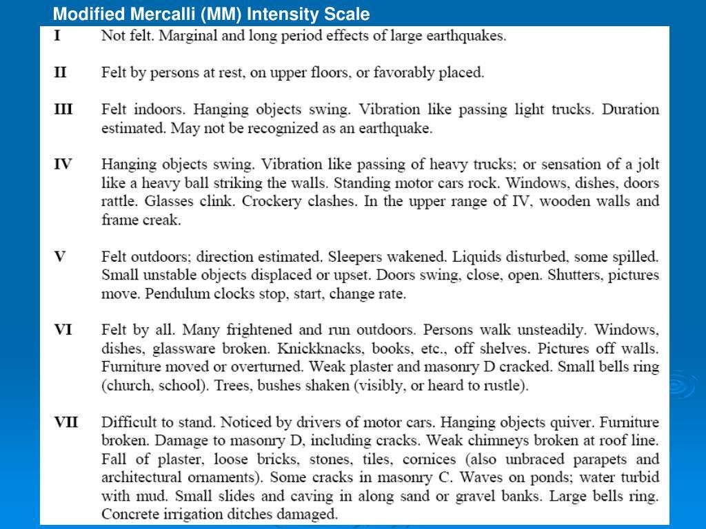Modified Mercalli (MM) Intensity Scale