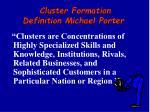 c luster formation definition michael porter